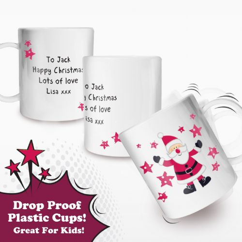 Personalised Spotty Santa Plastic Cup